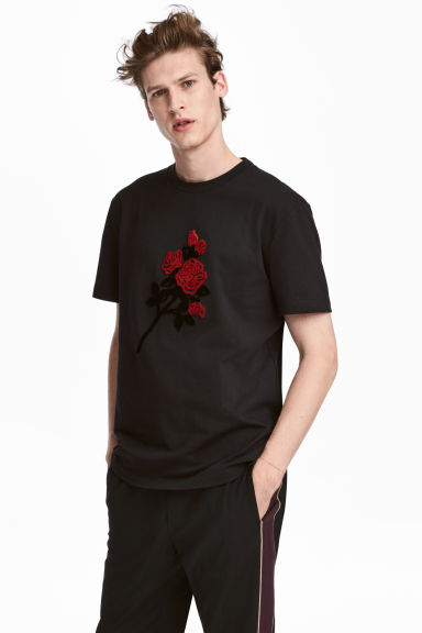 T-shirt with embroidery - Black/Rose - Men | H&M IE