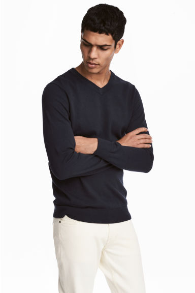 V-neck cotton jumper - Dark blue -  | H&M GB