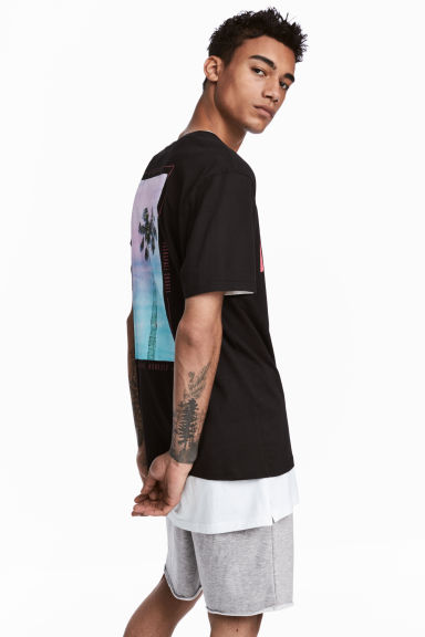 Printed T-shirt - Black/Palm -  | H&M