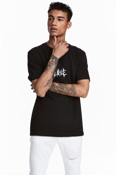 Printed T-shirt - Black - Men | H&M