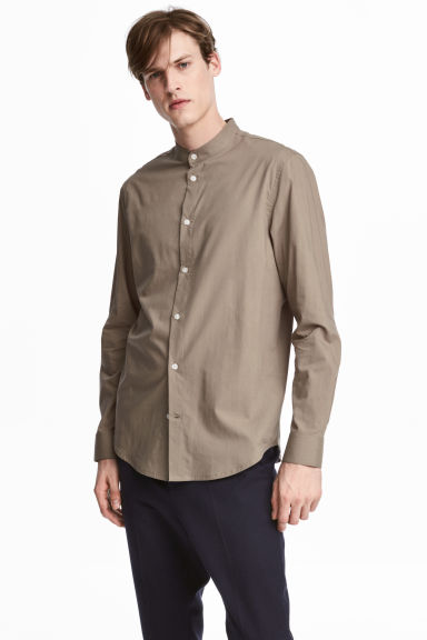 Chemise à col mao Regular fit - Taupe -  | H&M CH