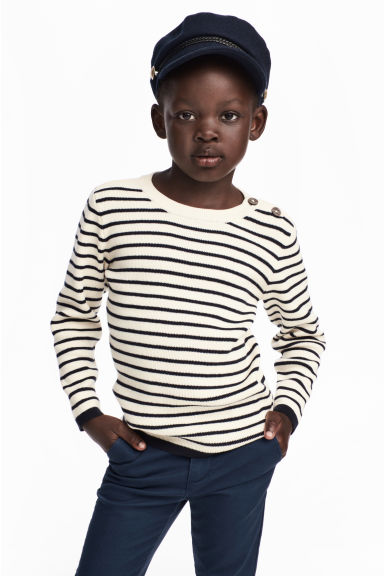 Fine-knit cotton jumper - White/Dark blue striped - Kids | H&M CN