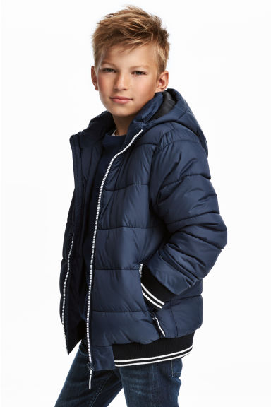 Padded jacket with a hood - Dark blue - Kids | H&M