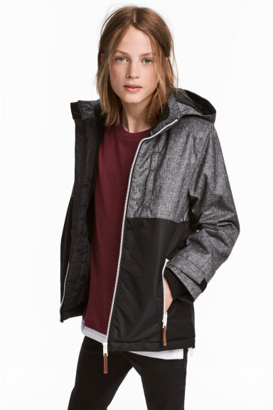 Padded outdoor jacket - Black marl -  | H&M GB