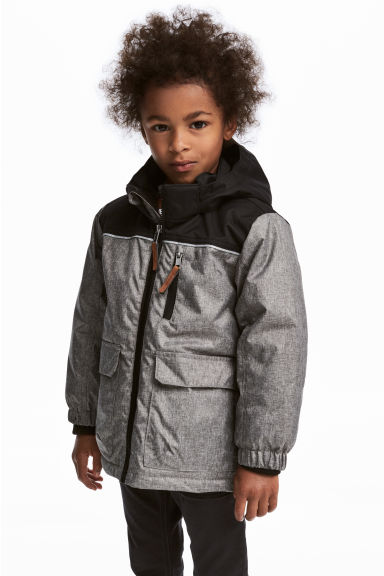 Padded outdoor jacket - Grey marl/Black - Kids | H&M