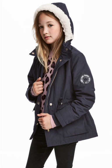 Parka with faux fur lining - Dark blue - Kids | H&M GB