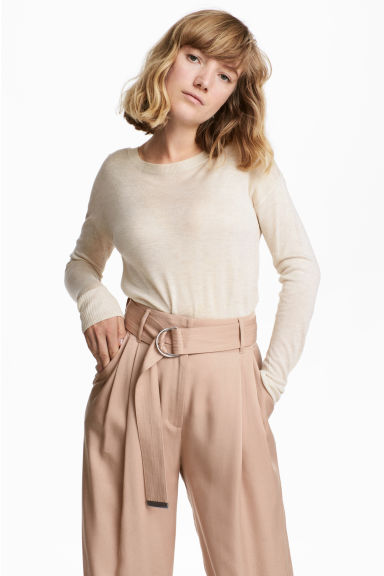 Fine-knit jumper - Light beige marl - Ladies | H&M CN