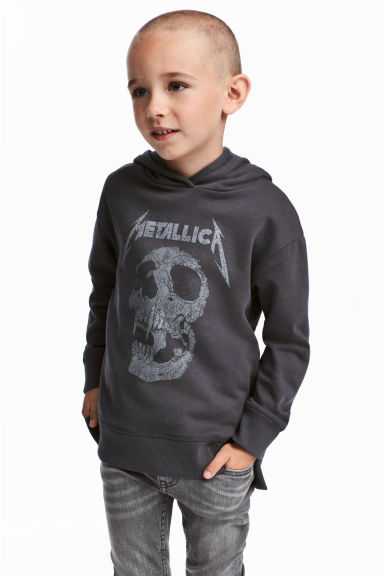 Printed hooded top - Black/Metallica - Kids | H&M CN
