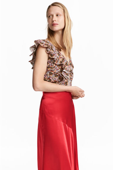 Top court avec volant - Multicolore/motif -  | H&M BE