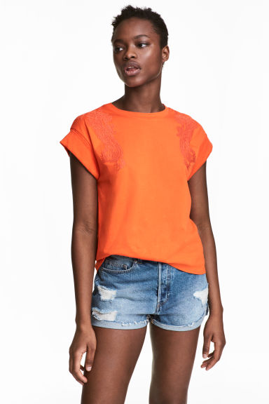 Top brodé - Orange -  | H&M FR