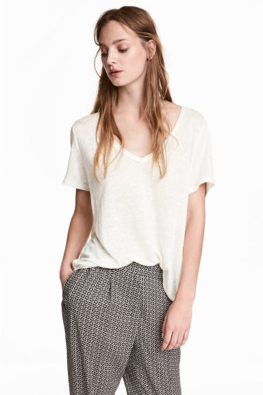 Linen V-neck top - White marl - Ladies | H&M