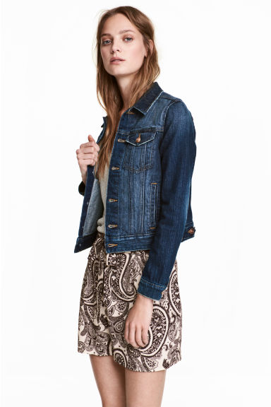 Short Denim Jacket - Dark denim blue -  | H&M CA