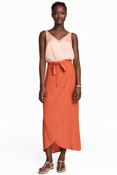 Long wrapover skirt - Orange - Ladies | H&M CN
