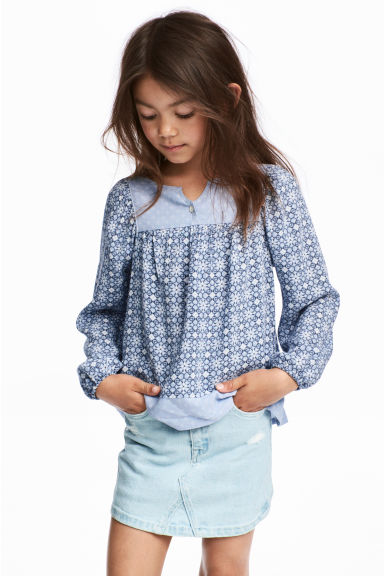 Patterned blouse - Light blue - Kids | H&M CN
