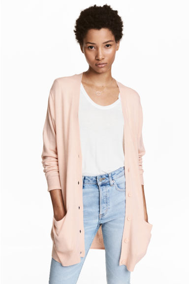 Long cardigan - Light pink - Ladies | H&M GB