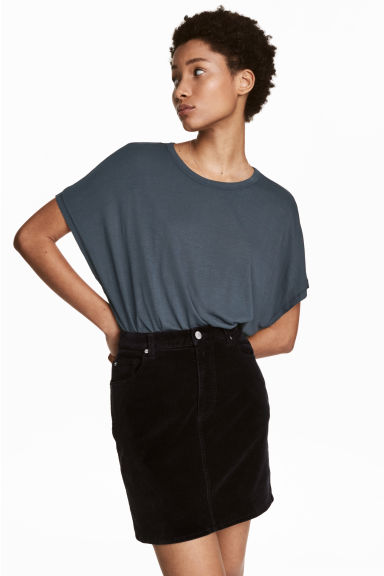 Top with cap sleeves - Green-grey -  | H&M CN