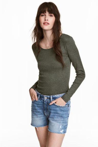 Long-sleeved jersey top - Khaki green/Marled - Ladies | H&M