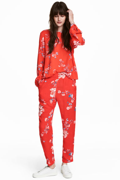 Patterned trousers - Red/Floral -  | H&M