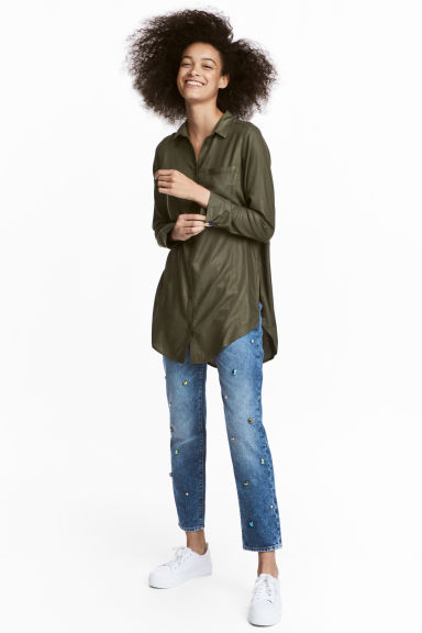 Long viscose shirt - Khaki green -  | H&M CN