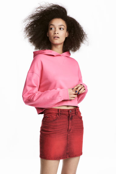 Denim rok - Rood washed out -  | H&M NL