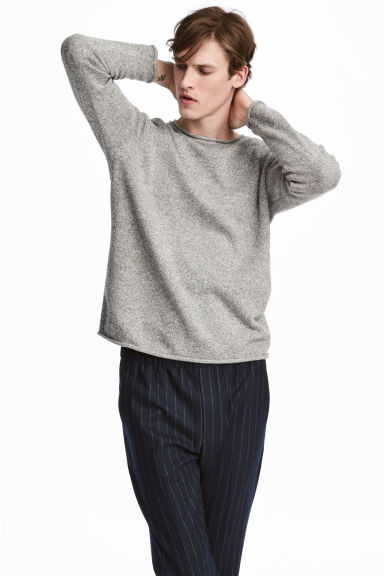 Fine-knit cotton jumper - Light grey marl - Men | H&M IE