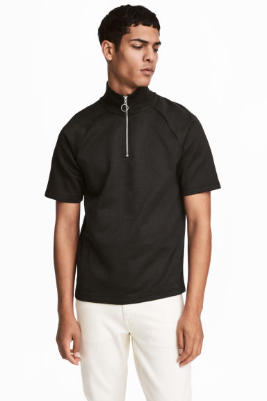 Short-sleeved turtleneck top - Black - Men | H&M IE