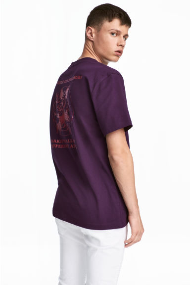Printed T-shirt - Dark purple - Men | H&M CN