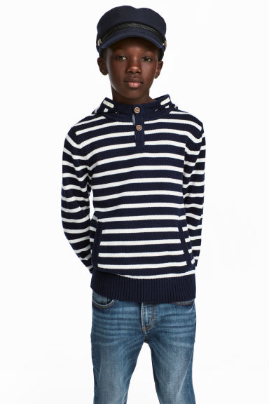 Knitted hooded jumper - Dark blue -  | H&M IE