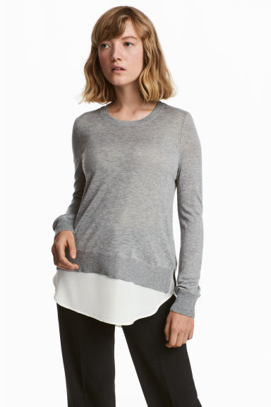Fine-knit jumper - Grey marl -  | H&M