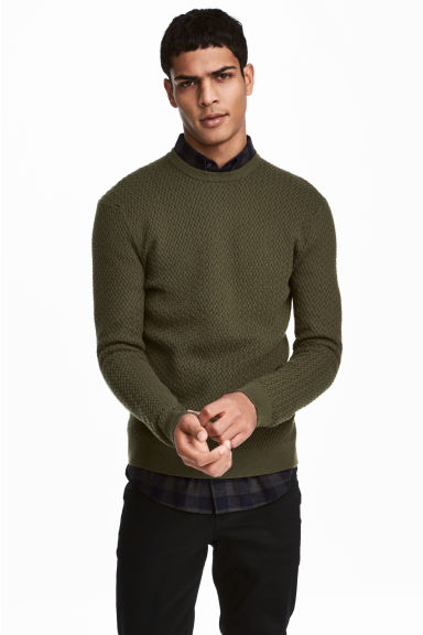 Cotton-blend jumper - Dark khaki green - Men | H&M CN