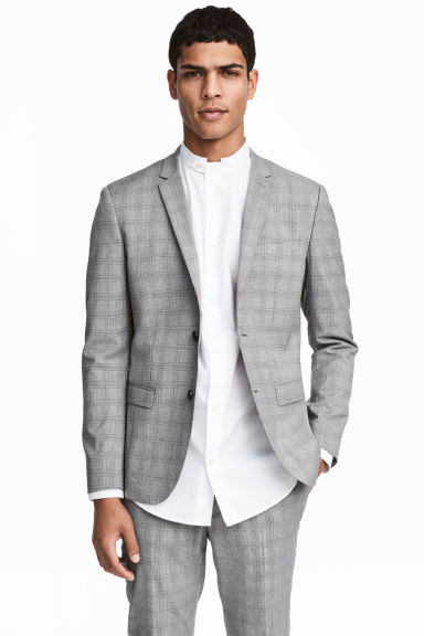 Checked jacket Skinny fit - Grey/Checked - Men | H&M CN