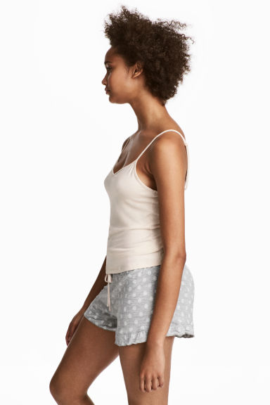 Pyjama top and shorts - Gray melange -  | H&M IE