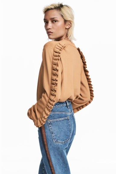 Frilled knitted jumper - Beige - Ladies | H&M CN
