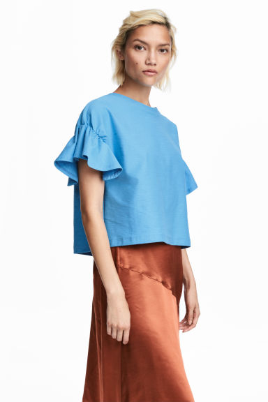Top with flounced sleeves - Sky blue -  | H&M