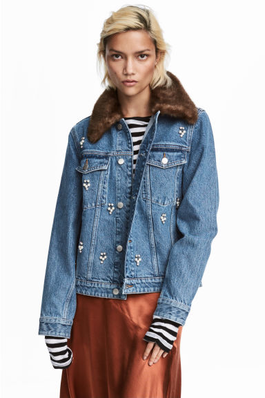 Embellished denim jacket - Light denim blue -  | H&M CN