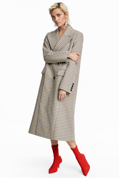 Double-breasted cotton coat - Light beige/Dogtooth - Ladies | H&M CN