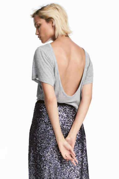 Top with a low back - Grey marl -  | H&M