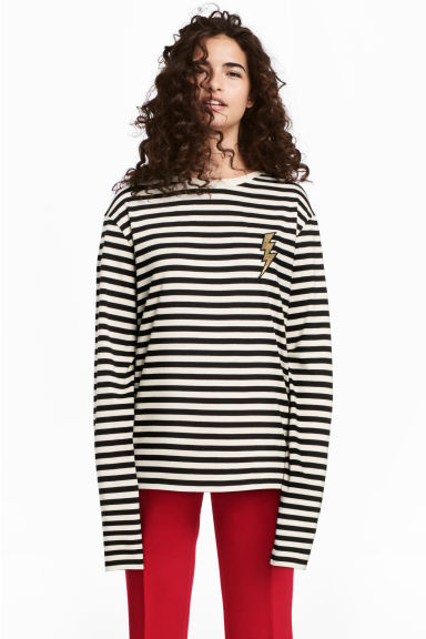 Long-sleeved top - Beige/Striped - Ladies | H&M