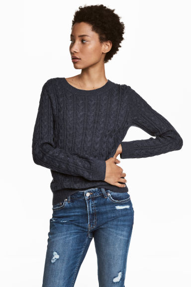 Cable-knit jumper - Dark blue -  | H&M CN