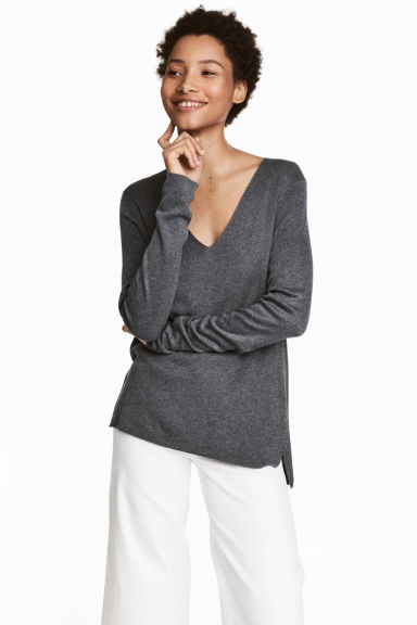Fine-knit jumper - Dark grey - Ladies | H&M