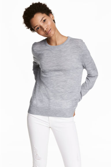 Knitted wool jumper - Grey marl -  | H&M CN