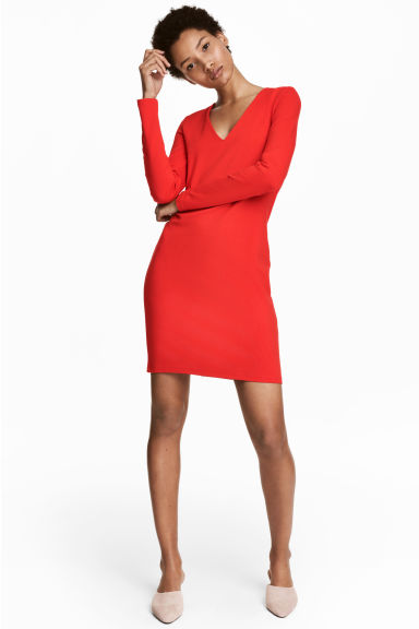 V-neck jersey dress - Red - Ladies | H&M