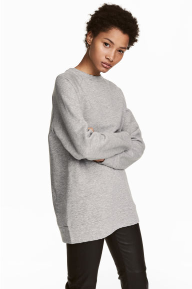 Long sweatshirt - Grey marl - Ladies | H&M
