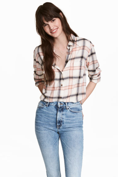 Flannel shirt - Natural white -  | H&M