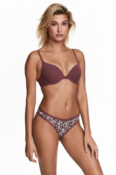 Set van 3 strings - Brazilian - Heidepaars/zwart - DAMES | H&M BE