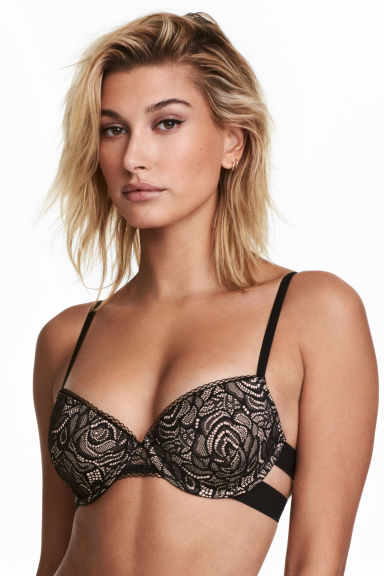 Padded underwired lace bra - Black - Ladies | H&M