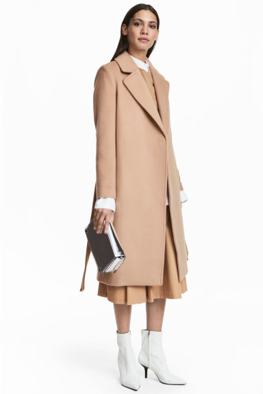 Wool-blend coat - Camel - Ladies | H&M IE