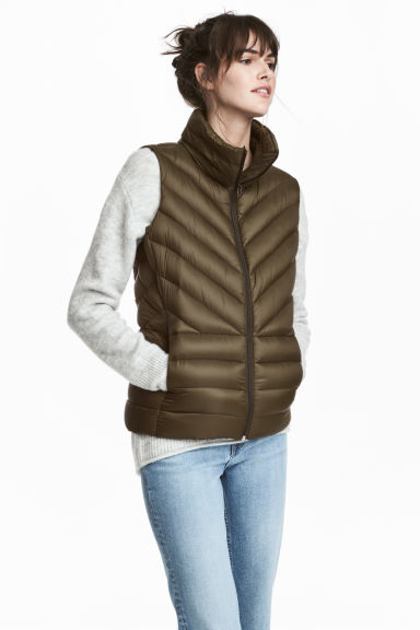 Light down gilet - Khaki green -  | H&M