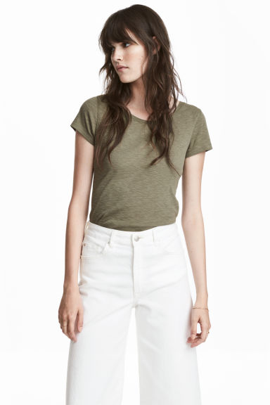 Cotton top - Khaki green - Ladies | H&M
