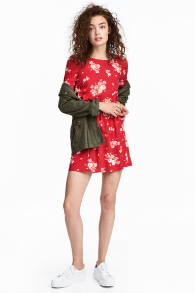 Short dress - Red/Floral - Ladies | H&M IE